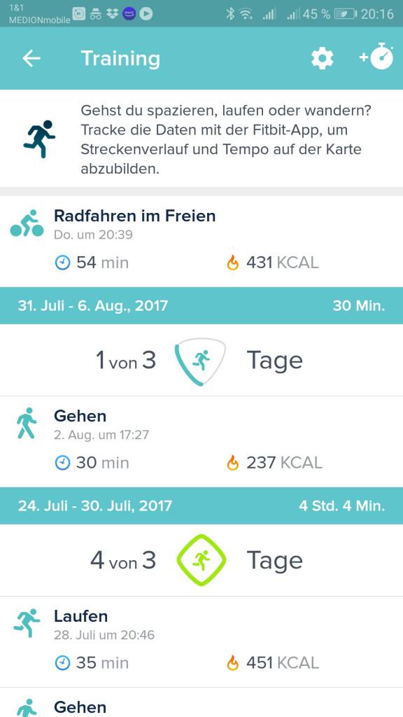 Übersicht Training in der Fitbit App