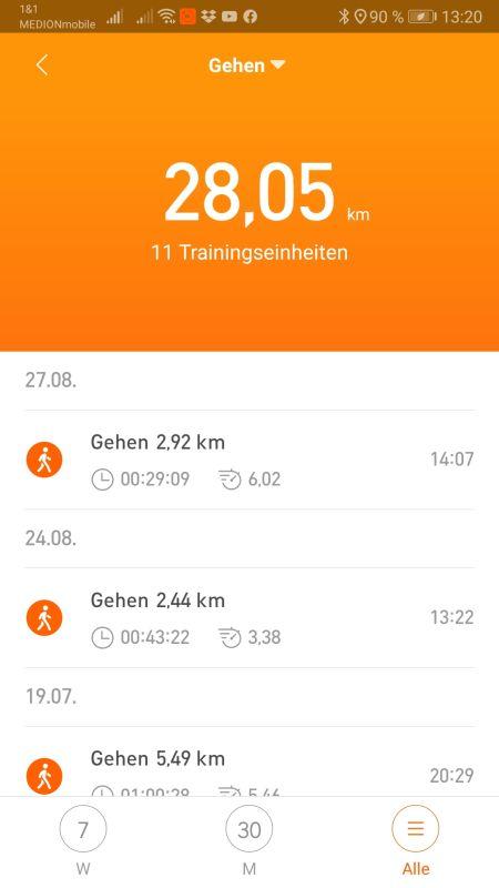 MiFit App Aktivitätsübersicht