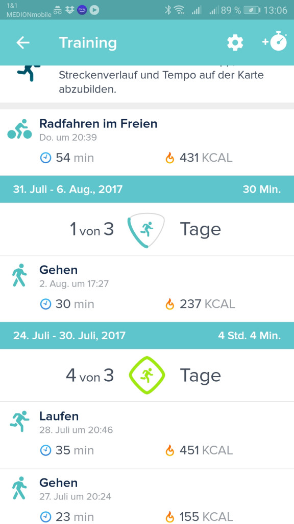 Screen Fitbit App mein Training